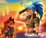 black_gloves blue_eyes blue_hair brown_eyes gloves green_jacket highres jacket leona_heidern metal_slug military nose parody ponytail salute sasisage soldier speech_bubble style_parody sunglasses sunset tarma_roving tears the_king_of_fighters vest yellow_vest