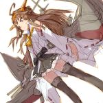 1girl ahoge alchera boots brown_hair detached_sleeves double_bun dutch_angle feet_out_of_frame grey_skirt hairband hakama_skirt headgear kantai_collection kongou_(kantai_collection) long_hair looking_to_the_side machinery popped_collar remodel_(kantai_collection) ribbon-trimmed_sleeves ribbon_trim simple_background skirt solo standing thigh-highs thigh_boots white_background