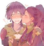 ! 2girls bernadetta_von_varley blush closed_eyes earrings fire_emblem fire_emblem:_three_houses hair_ornament heart holding_hands jewelry kiss kvlen long_hair multiple_girls open_mouth petra_macneary ponytail purple_hair simple_background upper_body white_background yuri