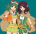 1ktrz1eee 2girls avanna belt blue_eyes bracelet breasts brooch brown_cape cape cowboy_shot dress elf goggles goggles_on_head green_dress green_eyes green_hair green_skirt gumi jacket jewelry medium_breasts medium_hair megpoid_(vocaloid3) midriff miniskirt multiple_girls navel neckerchief orange_jacket pointy_ears purple_hair red_goggles shared_cape side-by-side sidelocks skirt suspender_skirt suspenders under_boob vocaloid