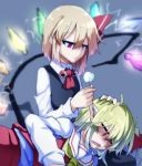 2girls black_vest blonde_hair blue_background closed_eyes cotton_swab ear_cleaning eyebrows_visible_through_hair fang flandre_scarlet jitome lap_pillow long_sleeves manekinekoppoi_inu mimikaki multiple_girls neckerchief open_mouth pointy_ears red_eyes red_neckwear rumia simple_background skin_fang sparkle touhou vest wings yellow_neckwear