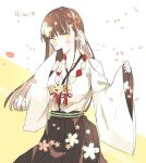 1girl graphite_(medium) highres japanese_clothes long_hair looking_at_viewer mandala mikagura_gakuen_kumikyoku petals seizinn skirt solo traditional_media yasaka_himi yellow_eyes