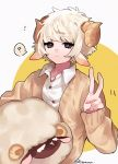 1boy :< ? animal_ears bangs black_eyes blonde_hair blunt_bangs brown_sweater buttons collared_shirt curly_hair eyebrows_visible_through_hair holding holding_stuffed_toy horns original sheep sheep_boy sheep_boy_(tsubaki_tsubara) sheep_ears sheep_horns shirt short_hair signature stuffed_animal stuffed_sheep stuffed_toy sweater tsubaki_tsubaru two-tone_background v white_background white_shirt yellow_background