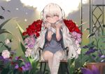 1girl absurdres bandaged_leg bandages bangs blush chair closed_mouth commentary_request dokomon dress eyebrows_visible_through_hair flower girls_frontline grey_dress grey_eyes grey_hair grey_nails hair_between_eyes hands_up highres korean_commentary long_hair looking_at_viewer nail_polish on_chair pink_flower pink_rose purple_flower red_flower red_rose ribeyrolles_1918_(girls_frontline) rose short_sleeves sitting smile solo thick_eyebrows very_long_hair white_flower white_rose wide_sleeves