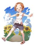 1girl :d ^_^ bangs bare_arms blush brown_footwear brown_hair closed_eyes collared_shirt day facing_viewer field flower flower_field forehead full_body grey_shorts hair_flower hair_ornament hairclip highres idolmaster idolmaster_cinderella_girls neck_ribbon open_mouth outstretched_arms parted_bangs ribbon ryuuzaki_kaoru sandals shirt short_hair short_shorts shorts sleeveless sleeveless_shirt smile solo spread_arms standing standing_on_one_leg sunflower sunflower_hair_ornament white_shirt yellow_flower yellow_ribbon yukie_(kusaka_shi)