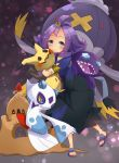 1girl :d absurdres acerola_(pokemon) ahoge animal armlet black_skirt blue_eyes drifblim froslass gen_3_pokemon gen_4_pokemon gen_7_pokemon highres holding holding_animal hug huge_filesize medium_hair mimikyu open_mouth palossand pokemon pokemon_(creature) pokemon_(game) pokemon_sm red_eyes ronmeru sableye sandals skirt smile standing teeth yellow_sclera