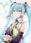 1girl akino_coto apron aqua_eyes aqua_hair bandaid bandaid_on_finger bandaid_on_hand bangs blush cooking detached_sleeves facing_viewer finger_to_mouth hatsune_miku ladle long_hair necktie solo spring_onion tattoo twintails vocaloid