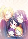 3girls ayase_eli black_hair blonde_hair blush closed_eyes commentary_request grin highres hug long_hair long_sleeves love_live! love_live!_school_idol_project multiple_girls nesoberi open_mouth otonokizaka_school_uniform ponytail purple_hair raikou104 red_eyes school_uniform smile toujou_nozomi twintails yazawa_nico