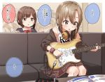 2girls :o ? bangs bare_shoulders black_jacket blazer blurry blurry_background blush bow breasts brown_eyes brown_hair brown_skirt clothes_writing collared_shirt depth_of_field electric_guitar eyebrows_visible_through_hair green_eyes guitar hair_between_eyes headphones headphones_around_neck highres holding holding_instrument idolmaster idolmaster_cinderella_girls indoors instrument jacket long_sleeves maekawa_miku medium_breasts multiple_girls off_shoulder on_chair open_clothes open_jacket parted_lips plaid plaid_skirt red_bow school_uniform shirt short_hair sitting skirt sweat table tada_riina tank_top translation_request union_jack white_shirt white_tank_top wristband yukie_(kusaka_shi)
