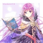 1girl belt black_dress black_feathers book border cape commission commissioner_upload decorations dress expressionless feathers fire_emblem fire_emblem:_the_binding_blade fire_emblem_heroes highres holding holding_book long_hair long_sleeves nagino open_book open_mouth purple_hair signature solo sophia_(fire_emblem) traditional_media very_long_hair violet_eyes watercolor_(medium)