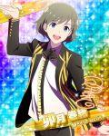 blue_eyes character_name grey_hair idolmaster idolmaster_side-m jacket short_hair smile uzuki_makio
