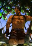 1boy abs animal_ears bara belt black_hair blush cat_boy cat_ears cat_tail chest chest_harness cowboy_shot forest gloves harness highres leaf male_focus muscle nature navel nipples open_pants original pectorals shirtless short_hair shorts solo st05254 tail thick_thighs thighs tree tree_shade wet