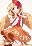 1girl :o animal animal_on_head bird bird_tail bird_wings blonde_hair boots brown_footwear chick dress feathered_wings gunjou_row highres looking_at_viewer multicolored_hair niwatari_kutaka on_head orange_dress puffy_short_sleeves puffy_sleeves red_eyes red_neckwear redhead shirt short_hair short_sleeves simple_background solo tail touhou two-tone_hair white_background white_shirt wings