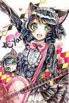 animal_ears black_hair cat_ears colored_pencil_(medium) graphite_(medium) guitar heart highres instrument ribbon show_by_rock!! traditional_media vocaloid watercolor_(medium) yuru_mame