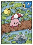 blush_stickers border bridge copy_ability fish frog highres holding holding_umbrella kappa kine_(kirby) kirby kirby_(series) lily_pad no_humans rariatto_(ganguri) transparent_border twitter_username umbrella