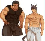 2boys abs animal_ears bara bare_shoulders bear_boy bear_ears black_eyes black_hair blush bulge chest covered_abs covered_navel cropped_legs horse_boy horse_ears horse_tail male_focus multiple_boys muscle navel nipples original pants pectorals shirtless short_hair sleeveless st05254 tail thick_thighs thighs tight white_background white_pants