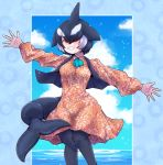 1girl alternate_costume aqua_neckwear arm_up ascot bangs black_hair black_legwear black_vest blowhole collared_dress commentary_request dolphin_tail dorsal_fin dress feet_out_of_frame floral_print grin hair_over_one_eye hand_up head_fins highres kemono_friends kotobukkii_(yt_lvlv) long_sleeves looking_at_viewer medium_dress multicolored_hair open_clothes open_vest orca_(kemono_friends) outstretched_arms outstretched_hand pantyhose parted_bangs print_dress short_hair smile solo spread_arms spread_fingers standing tail teeth two-tone_hair vest white_hair wing_collar