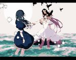 2girls akemi_homura arm_at_side beige_background bird black_capelet black_dress black_hair capelet choker circle collarbone commentary_request covered_face crow dress faceless faceless_female facing_away flat_chest frilled_dress frills gloves goddess_madoka hair_ribbon homulilly kaname_madoka layered_dress legs_apart letterboxed long_dress long_hair mahou_shoujo_madoka_magica mahou_shoujo_madoka_magica_movie multiple_girls ocean outstretched_arm pc_(z_yu) pink_hair pink_legwear profile ribbon ripples see-through shiny shiny_hair short_sleeves simple_background sparkle standing straight_hair thigh-highs two_side_up very_long_hair wading water waves white_choker white_dress white_gloves white_neckwear white_ribbon wide_sleeves wrist_grab zettai_ryouiki