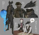 arizuka_(catacombe) bloodborne blue_eyes celestial_emissary doll doll_joints dough eldritch_abomination hat highres hunter_(bloodborne) joints nodding plain_doll roller sleeves_rolled_up thought_bubble tricorne umbilical_cord