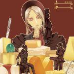 arizuka_(catacombe) bloodborne butter_knife celestial_emissary cheese coat crack doll doll_joints food grey_eyes grey_hair hat headdress hunter_(bloodborne) joints plain_doll tricorne