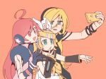 1ktrz1eee 3girls ahoge android aqua_eyes aqua_nails arm_warmers bangs black_collar black_shirt black_sleeves blonde_hair blue_gloves bow bracelet collar gloves hair_bow hair_ornament hairclip hand_on_another's_head headphones holding holding_phone index_finger_raised jewelry kagamine_rin lily_(vocaloid) long_hair multiple_girls orange_background phone red_eyes redhead sailor_collar self_shot sf-a2_miki shirt star_(symbol) star_print sticker swept_bangs upper_body vocaloid white_bow white_shirt
