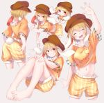 >:) 1girl animal_ears ass barefoot blonde_hair blush bunny_tail cabbie_hat chibi chikuwa_savi closed_eyes commentary cowboy_shot crossed_legs dango eating eyebrows_visible_through_hair feet flat_cap floppy_ears food hat highres knees_together_feet_apart looking_at_viewer midriff navel orange_eyes orange_shirt pants rabbit_ears ringo_(touhou) shirt short_hair shorts simple_background sitting smile solo tail toenails toes touhou wagashi yellow_pants