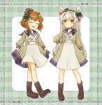 2girls alternate_costume amatsukaze_(kantai_collection) boots brown_eyes brown_footwear brown_hair closed_eyes cocoperino commentary_request dress full_body hair_ornament hair_tubes hairclip headgear kantai_collection long_hair multiple_girls open_mouth plaid plaid_background round_teeth sailor_dress short_hair silver_hair smile teeth two_side_up upper_teeth windsock yukikaze_(kantai_collection)