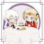 2girls blush cake closed_eyes commentary commission cookie cup eating edelgard_von_hresvelg english_commentary fire_emblem fire_emblem:_three_houses food heart highres long_hair looking_at_another lysithea_von_ordelia muffin multiple_girls pyon-chart table tea teacup white_hair