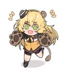 1girl animal_ears aogisa blonde_hair blush chibi eyebrows_visible_through_hair girls_frontline green_eyes grey_skirt hair_ornament italian_flag_neckwear jacket lion_ears lion_paws lion_tail long_hair looking_at_viewer neck_ribbon open_mouth paw_pose ribbon s.a.t.8_(girls_frontline) skirt solo tail white_background