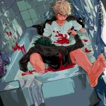 2boys barefoot bathroom bathtub battle bleeding blonde_hair blood bloody_clothes bloody_weapon collarbone dripping fingernails green_hair grey_eyes highres holding holding_knife holding_weapon indoors jaemin107 knife looking_at_another male_focus multiple_boys murder open_mouth original partially_submerged shampoo_bottle shower_curtain stabbed teeth tile_wall tiles tongue towel water weapon wet