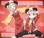 2girls :d :o ^_^ animal_ears arm_up bangs black_pants black_ribbon blush braid braided_bangs brown_eyes closed_eyes double_v dress earrings eyebrows_visible_through_hair facing_viewer fake_animal_ears grey_hair hair_ribbon highres hisakawa_hayate hisakawa_nagi hood hood_up idolmaster idolmaster_cinderella_girls jewelry long_hair long_sleeves looking_at_viewer low_twintails meandros multiple_girls open_mouth outstretched_arms panda_ears panda_hood pants parted_lips red_dress red_shirt ribbon shirt siblings sisters smile standing standing_on_one_leg twins twintails v very_long_hair white_pants wide_sleeves yie_ar_fan_club_(vocaloid) yukie_(kusaka_shi)