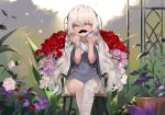 1girl absurdres bandaged_leg bandages bangs blush chair dokomon dress eyebrows_visible_through_hair fake_facial_hair fake_mustache flower girls_frontline grey_dress grey_eyes grey_hair grey_nails hair_between_eyes hands_up highres long_hair looking_at_viewer nail_polish on_chair pink_flower pink_rose purple_flower red_flower red_rose ribeyrolles_1918_(girls_frontline) rose short_sleeves sitting solo thick_eyebrows very_long_hair white_flower white_rose wide_sleeves