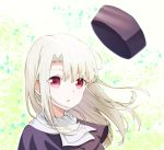 1girl azami_masurao bangs eyebrows_visible_through_hair fate/stay_night fate_(series) floating_hair hair_between_eyes hair_intakes highres illyasviel_von_einzbern long_hair looking_at_viewer open_mouth portrait purple_capelet red_eyes silver_hair solo white_background