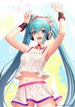 1girl :d aqua_eyes aqua_hair armpits arms_up bad_id bad_twitter_id bangs collarbone cowboy_shot crop_top crop_top_overhang detached_collar hair_ornament hair_scrunchie hatsune_miku headphones jurrig long_hair looking_at_viewer midriff miniskirt navel open_mouth outline redial_(vocaloid) scrunchie sidelocks skirt skirt_set sleeveless smile solo star_(symbol) twintails very_long_hair vocaloid watermark web_address white_outline white_skirt wrist_cuffs