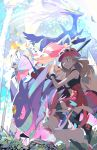 1girl black_legwear brown_hair commentary dated delphox ege_(597100016) eyelashes eyewear_on_headwear floating_hair foliage from_below gen_1_pokemon gen_6_pokemon gengar hand_up leaf legendary_pokemon long_hair mega_gengar mega_pokemon pink_bag pink_headwear pokemon pokemon_(creature) pokemon_(game) pokemon_xy red_skirt serena_(pokemon) shoes signature skirt sunglasses sylveon teeth thigh-highs vivillon xerneas