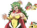 1boy 1girl angry armor bowser bracelet breasts crown donkey_kong_(series) earrings fangs genderswap genderswap_(mtf) green_hair highres horns jewelry king_k._rool super_mario_bros. new_super_mario_bros._u_deluxe open_mouth redhead spiked_bracelet spikes super_crown super_smash_bros. tina_fate