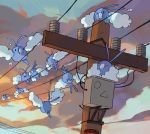 bird black_eyes cindy_(pigeoncindy_) closed_eyes closed_mouth clouds commentary day flying gen_3_pokemon hanging highres looking_at_viewer no_humans open_mouth outdoors pokemon pokemon_(creature) power_lines sky swablu wavy_mouth