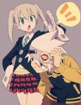 1boy 1girl bangs black_jacket blonde_hair chop clenched_teeth enotou_(enotou_moi) glover gloves grey_background headband hunched_over jacket long_hair long_sleeves maka_albarn necktie open_mouth plaid plaid_skirt redhead simple_background skirt soul_eater soul_eater_(character) striped striped_neckwear teeth track_jacket twintails white_gloves white_hair