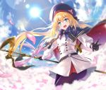 1girl absurdres artoria_pendragon_(all) artoria_pendragon_(caster) belt belt_buckle blonde_hair blue_eyes buckle commentary_request day eyebrows_visible_through_hair fate/grand_order fate_(series) gloves hair_between_eyes hat highres holding holding_staff long_hair long_sleeves looking_at_viewer open_mouth outdoors pantyhose rope sheath sheathed shionji_ax skirt sky solo staff standing sun sword teeth twintails v weapon