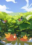 beak bird cindy_(pigeoncindy_) closed_mouth day fish fletchling gen_1_pokemon gen_6_pokemon highres lily_pad looking_down looking_up magikarp no_humans outdoors pokemon pokemon_(creature) sky symbol_commentary water wet