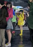 absurdres artist_request black_hair boots brown_eyes cityscape clouds cloudy_sky duck_hood eyebrows_visible_through_hair flower highres holding hood hood_down hooded_jacket jacket long_hair looking_at_viewer original parasol rain raincoat rubber_boots sky solo_focus thighs twintails umbrella