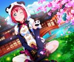 1girl absurdres animal_costume bangs black_legwear boots bridge cherry_blossoms chinese_clothes clouds cloudy_sky detached_sleeves earrings floral_print flower grass green_eyes hair_ornament highres indian_style jewelry kurosawa_ruby lace lace-trimmed_skirt long_sleeves looking_at_viewer love_live! love_live!_sunshine!! one_eye_closed pagoda panda_costume panda_hood pink_ribbon pink_skirt redhead ribbon shirt short_hair sitting skirt sky sleeves_past_fingers sleeves_past_wrists smile solo stuffed_animal stuffed_panda stuffed_toy tsumikiy vest white_shirt
