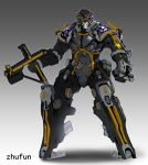absurdres artist_name clenched_hand gradient gradient_background gun highres holding holding_gun holding_weapon kamen_rider kamen_rider_555 kamen_rider_kaixa looking_at_viewer mecha mechanization no_humans solo standing weapon zhu_fun