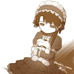1girl absurdres asymmetrical_hair closed_mouth dress frills gothic_lolita greyscale hair_ornament hairband hairclip highres iwakura_lain lolita_fashion masahito_(yomenu) monochrome serial_experiments_lain short_hair sitting solo stuffed_animal stuffed_toy x_hair_ornament