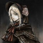 1girl bloodborne doll flower green_eyes hat hat_flower highres jewelry maid_dress maid_headdress moonface necklace plain_doll scarf tied_hair white_hair