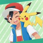 1boy ash_ketchum bangs baseball_cap black_hair brown_eyes cheek_press commentary_request gen_1_pokemon hair_between_eyes hat highres kouzuki_(reshika213) on_shoulder one_eye_closed open_mouth pikachu pokemon pokemon_(anime) pokemon_(creature) pokemon_on_shoulder pokemon_swsh_(anime) shirt short_sleeves smile tongue upper_body upper_teeth white_shirt