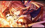 1girl bangs blonde_hair blue_capelet bow_(weapon) capelet dark_skin determined drawing_bow elf embers fenrir_(fenlil0316) fire glaring glint gloves glowing glowing_eyes hair_between_eyes half_gloves high_ponytail highres holding holding_bow_(weapon) holding_weapon hololive kintsuba_(shiranui_flare) leather leather_gloves long_hair looking_at_viewer multicolored_hair pointy_ears shiranui_flare shoulder_cutout solo streaked_hair upper_body virtual_youtuber weapon yellow_eyes