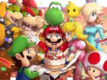 2girls 5boys :d ? anniversary aqua_dress blonde_hair blue_eyes blue_overalls bottle bowser bowser_jr. breasts brown_hair cake crown detergent dress earrings facial_hair father_and_son food gonzarez green_headwear hand_on_own_chin highres jewelry luigi luma_(mario) mario mario_(series) medium_breasts multiple_boys multiple_girls mustache open_mouth paper_mario_64 pink_dress princess_peach red_headwear rosalina smile toad twitter_username yoshi