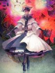 1girl bloodborne boots cane chain covered_eyes dress flower gloves hat ribbon stamen thigh-highs weapon white_dress yoshioka_(haco) yurie_the_last_scholar