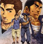 2boys bara belt black_hair blush brown_hair chest cropped_torso dirty dirty_clothes facial_hair flexing full_body green_eyes highres looking_at_viewer male_focus manly masateruteru multiple_boys muscle original pants pectorals pose shirt shoes short_hair sideburns smile smirk thick_eyebrows